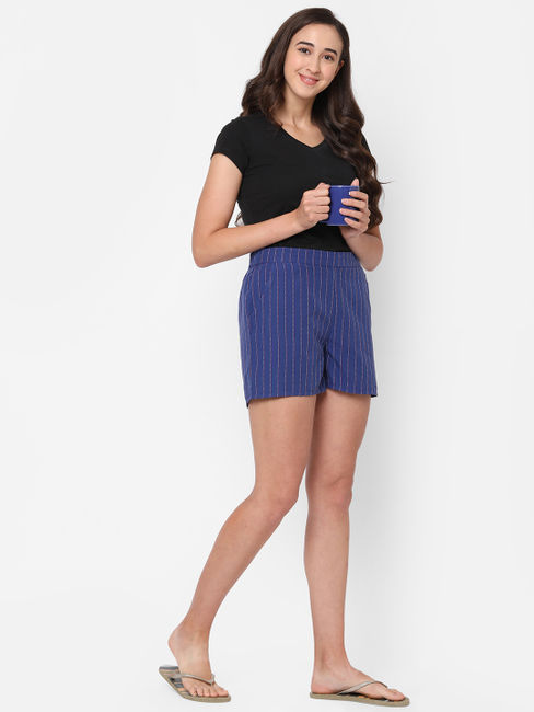 Cosy Striped Cotton Lounge Shorts