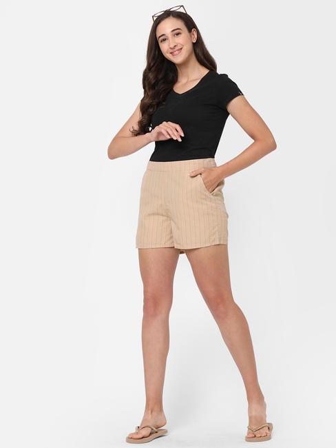 Trendy Striped Cotton Lounge Shorts