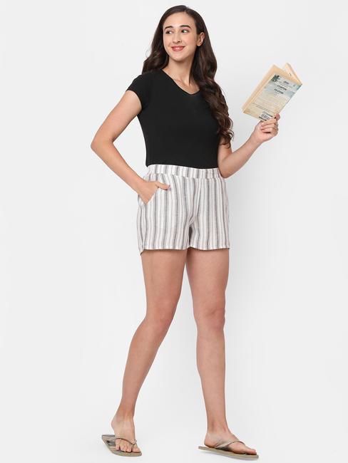 Elegant Striped Cotton Lounge Shorts
