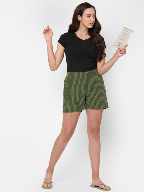 Striking Striped Cotton Lounge Shorts