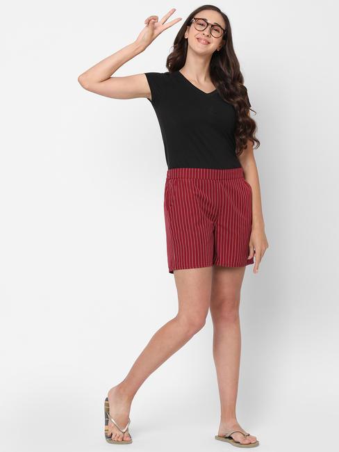 Stunning Striped Cotton Lounge Shorts