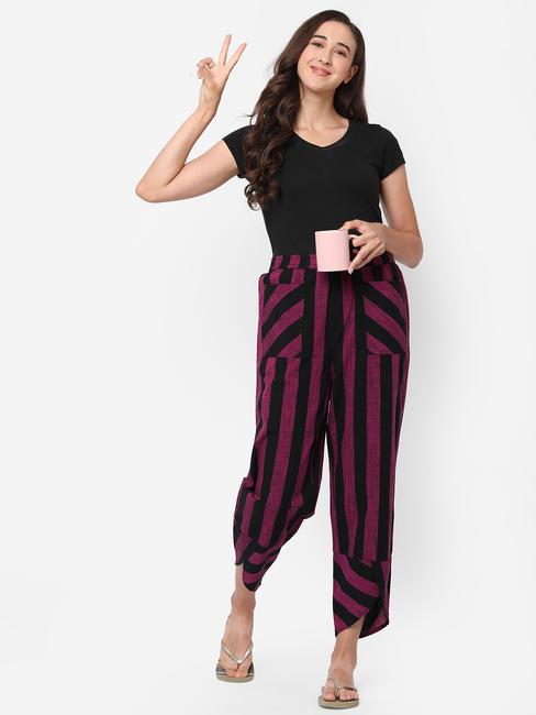 Trendy Striped Cotton Lounge Pants