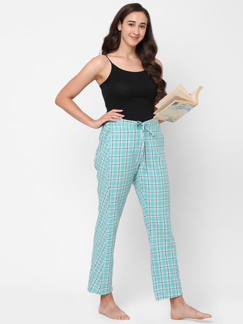 Trendy Green Checked Rayon Pyjamas