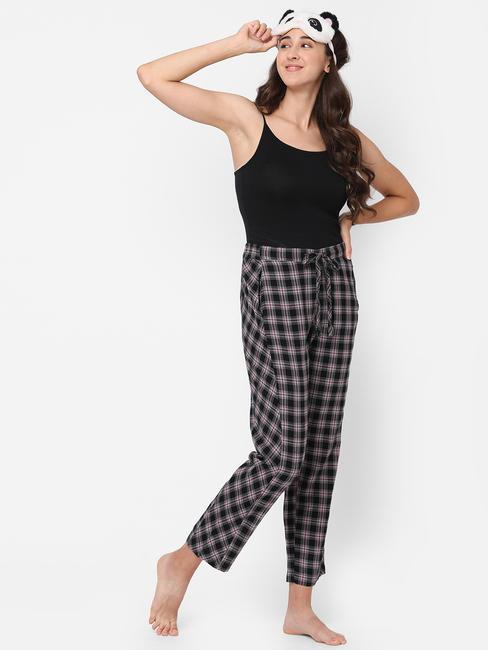 Classy Black Checked Rayon Pyjamas