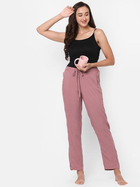 Pretty Pink Checked Rayon Pyjamas