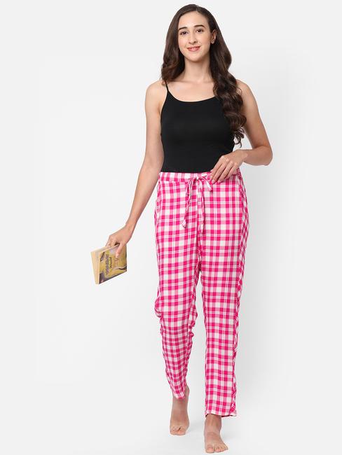 Hot Pink Checked Rayon Pyjamas