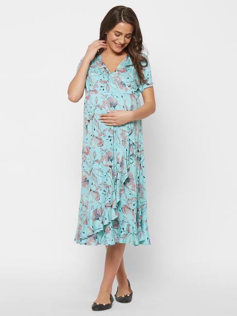 Stylish Maternity Overlap Dress