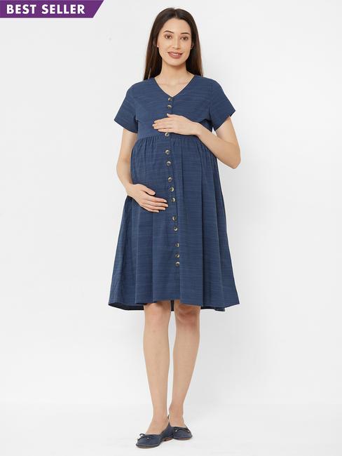 Classic Textured Maternity Dress