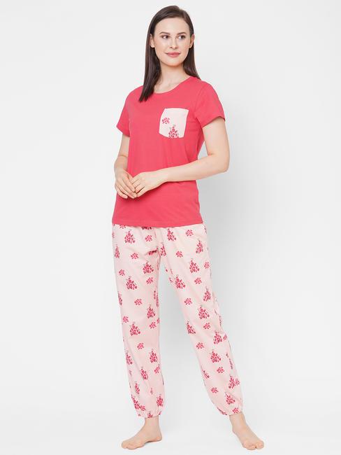 Cute Peach Cotton Pyjama Set