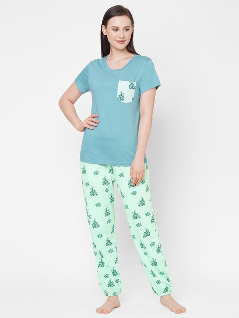 Chic Green Cotton Pyjama Set