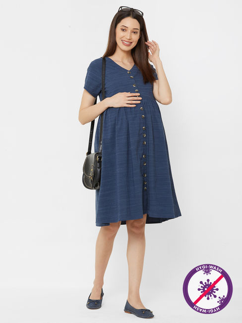Classic Textured Maternity Dress