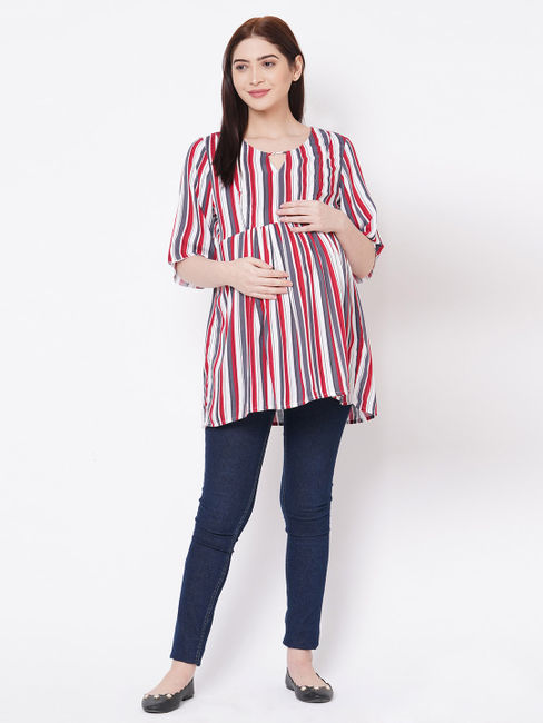 Cute Red, Grey Rayon Maternity Top