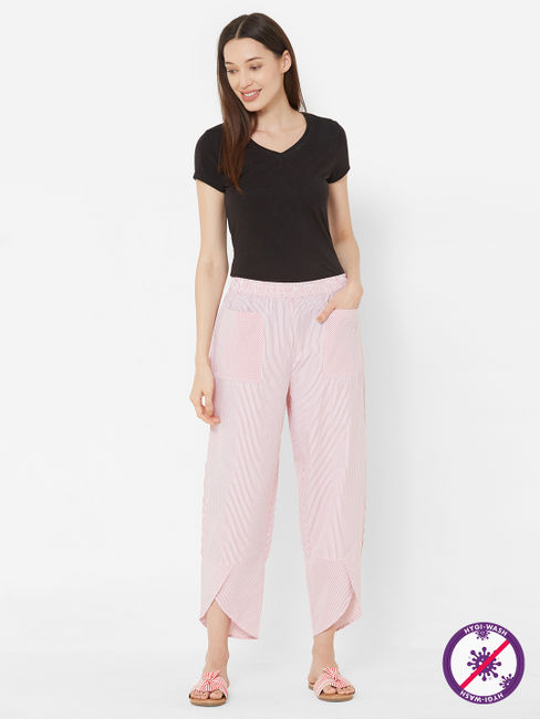 Mystere Paris - Stylish, Classic Striped Lounge Pants For Women (Pretty in Pink, 100% Cotton)