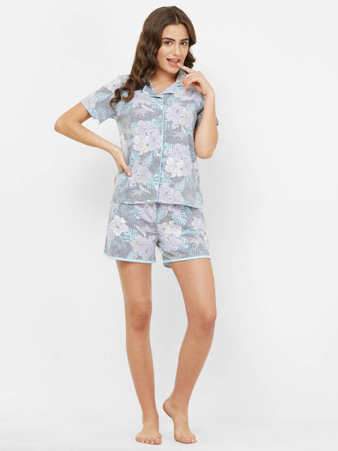 Pretty Floral Cotton Printed Shorts Set