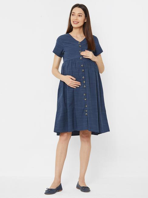 Classic Navy Blue Cotton Maternity Dress