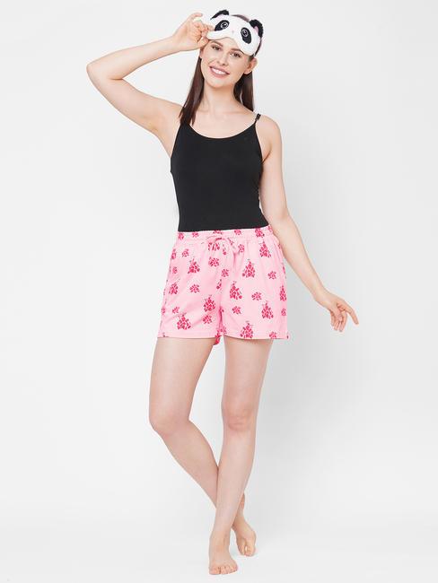 Comfy Peach Print Cotton Shorts