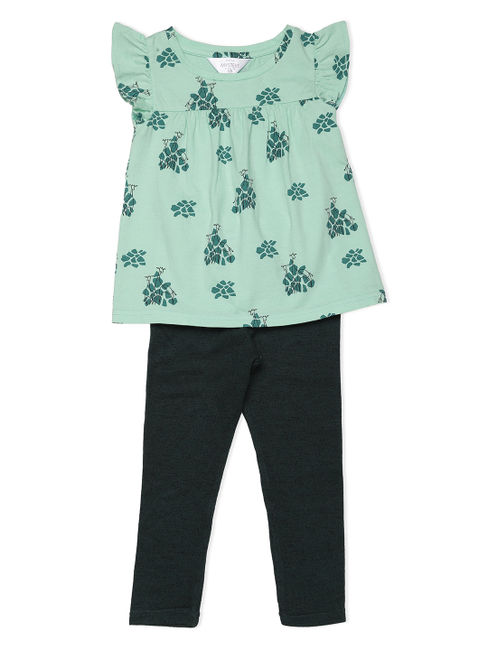 Girls Chic Green Leggings Set