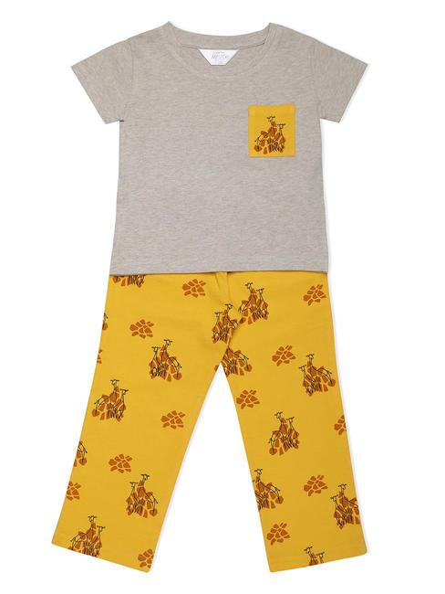 Girls Chic Yellow Giraffe Pyjama Set