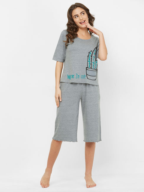Cute Grey Cotton Cactus Print Capri Set