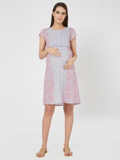 Pretty Cotton Maternity Chambray Dress