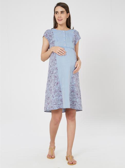 Stunning Cotton Maternity Chambray Dress