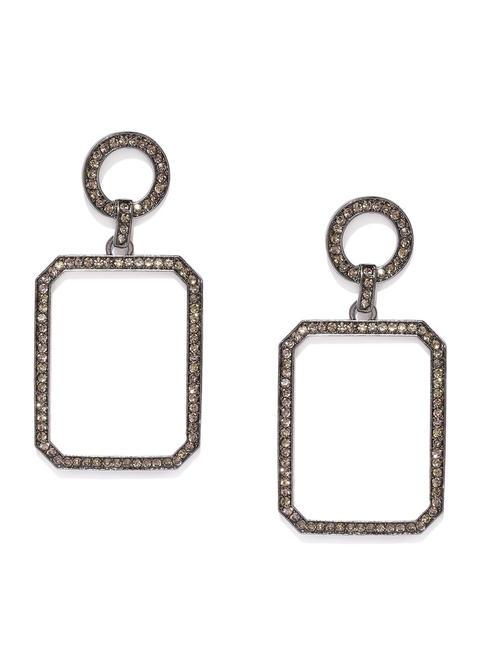 Metallic-Toned Square Shaped Drop Earrings