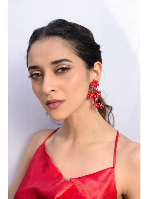 Red Floral Drop Earrings