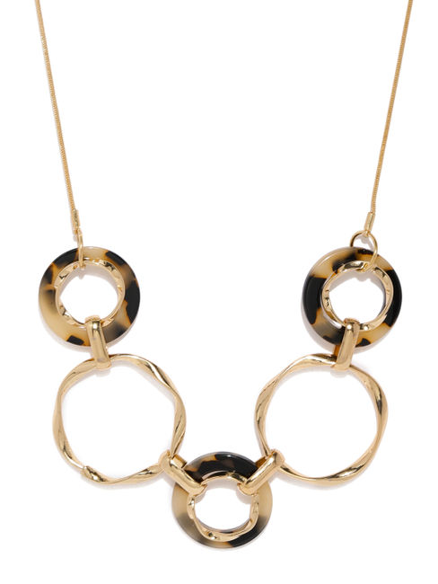 Women Gold-Toned & Brown Ring Necklace