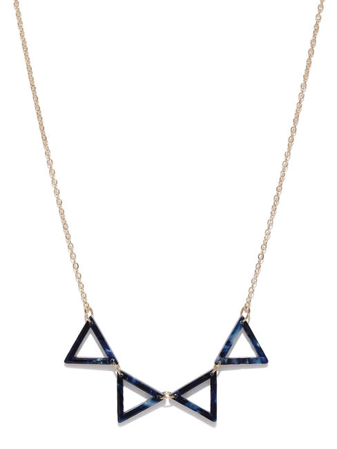 Gold-Toned & Blue Minimal Necklace