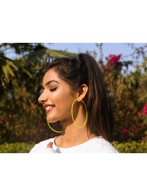 Green Circular Hoop Earrings
