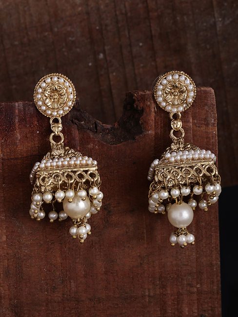 Gold-Toned & White Triangle Jhumkas