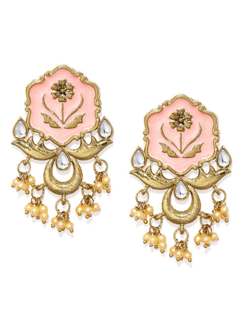 Women Gold-Toned & Pink Enamelled Drop Earrings