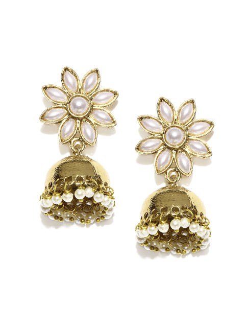 Gold-Toned & White Drop Earrings