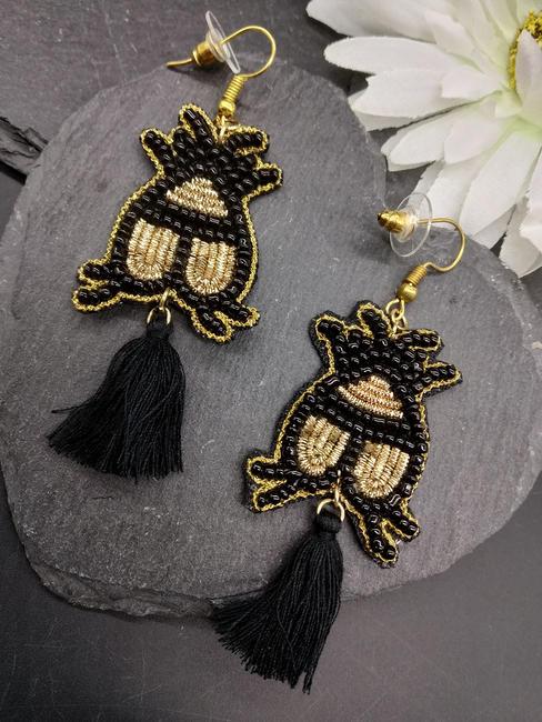 Black Seedbead Statement Drop Earrings