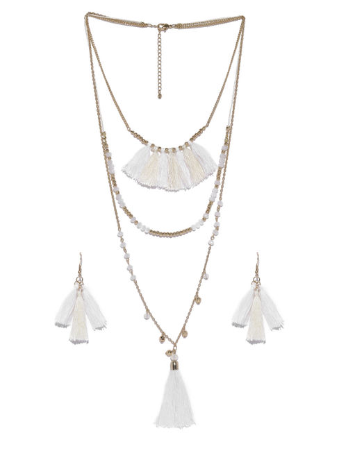 Gold-Toned White Tasseled Jewellery Set