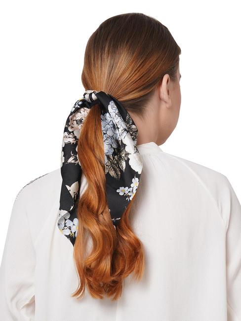 ToniQ Gardenia Black Satin Floral Scarf Rubberband For Women