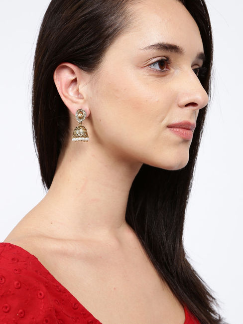 Gold Tone Classic Jhumka Earrings For Women