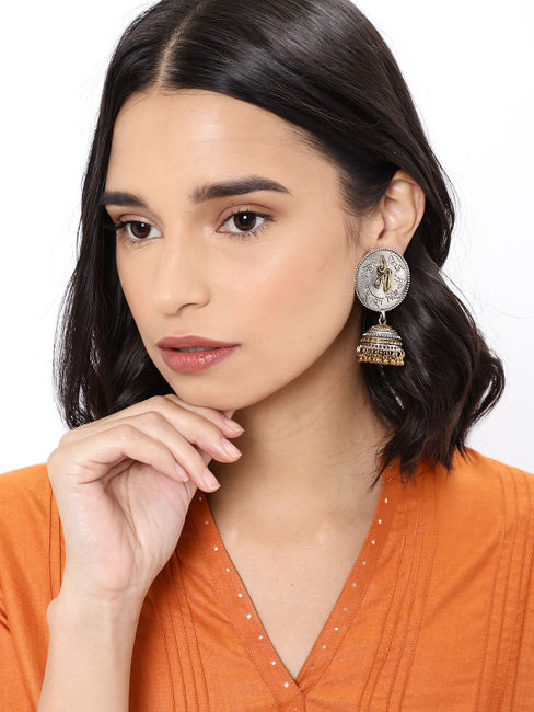 Silver-Toned & Bronze-Toned Dome Shaped Jhumkas