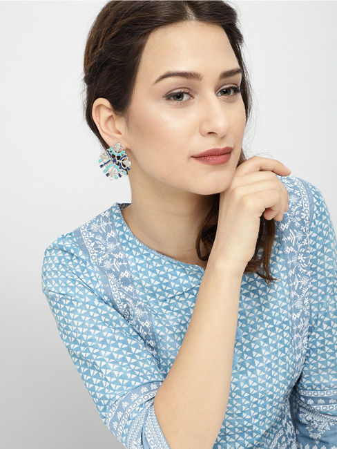 Silver-Toned & Blue Oversized Studs
