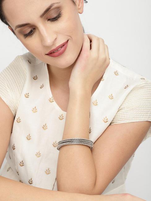 Set Of 4 Silver-Toned Embellished Bangles