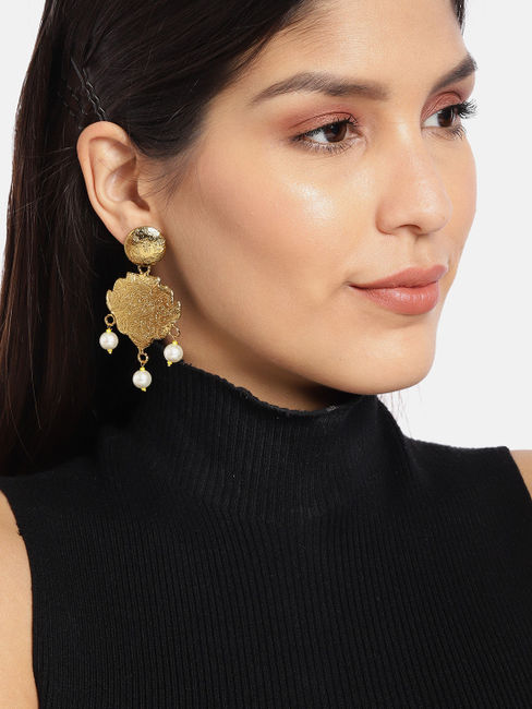 Gold-Toned Circular Drop Earrings