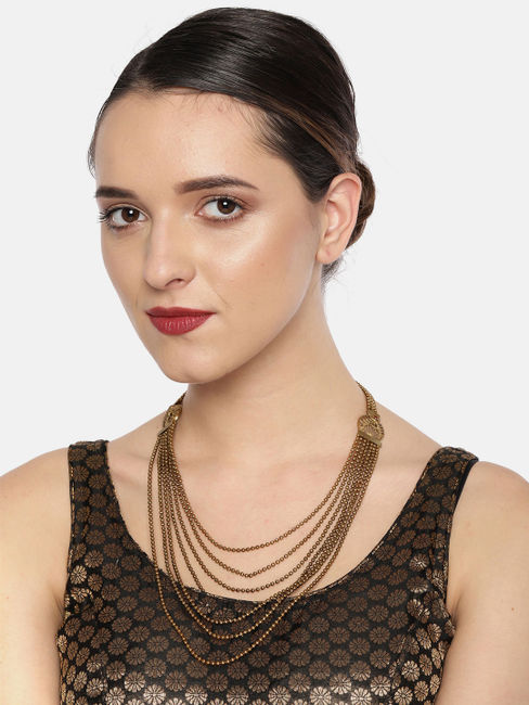 Gold-Toned Layered Chain Design Necklace