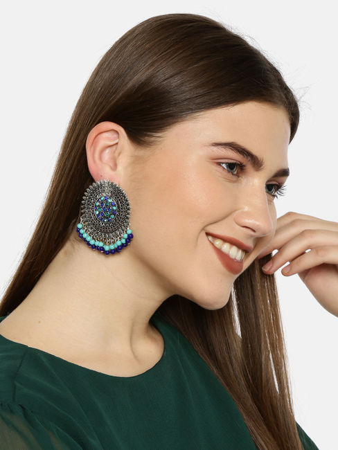 Silver-Toned & Blue Circular Oversized Studs