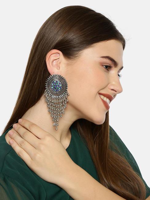 Silver-Toned & Blue Classic Drop Earrings
