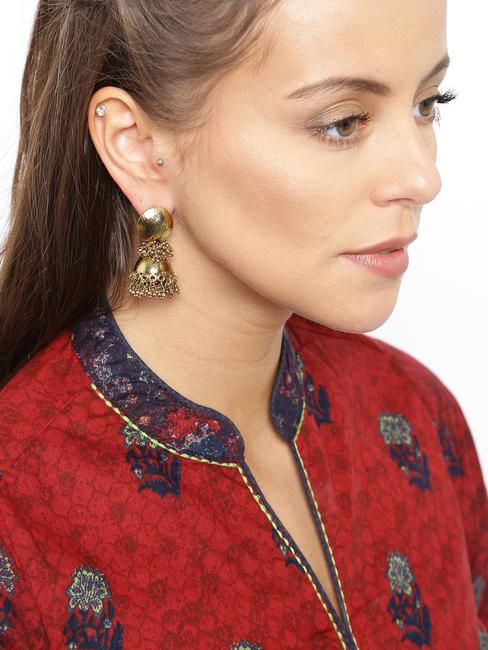 Gold Jhumki Earrings