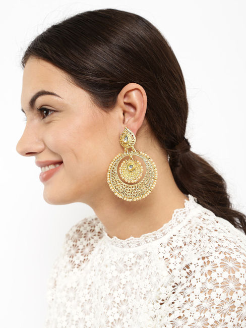 Gold-Toned Off-White Chandbali Earrings
