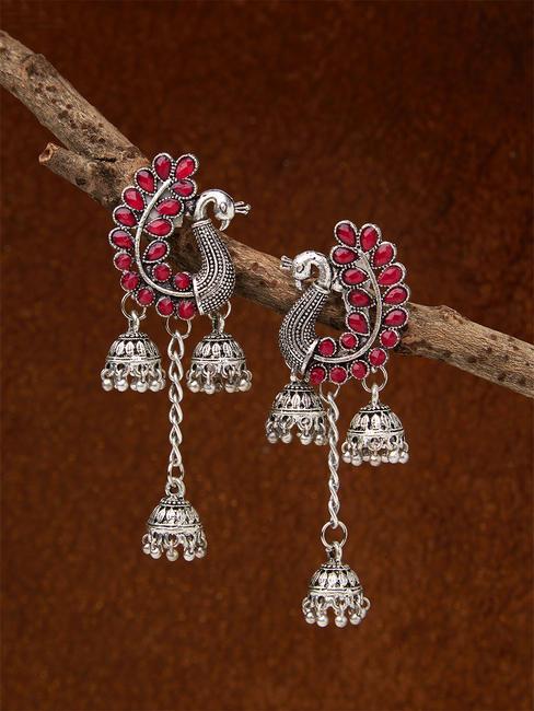Ethnic Indian Traditional Peacock Stone Embellished Jhumka Earrings For Women