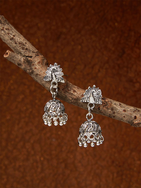 Ethnic Indian Traditional Silver Peacock Jhumka Earrings For Women