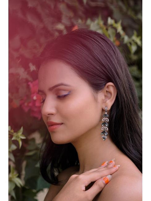 Gunmetal-Toned Contemporary Embellished Drop Earrings