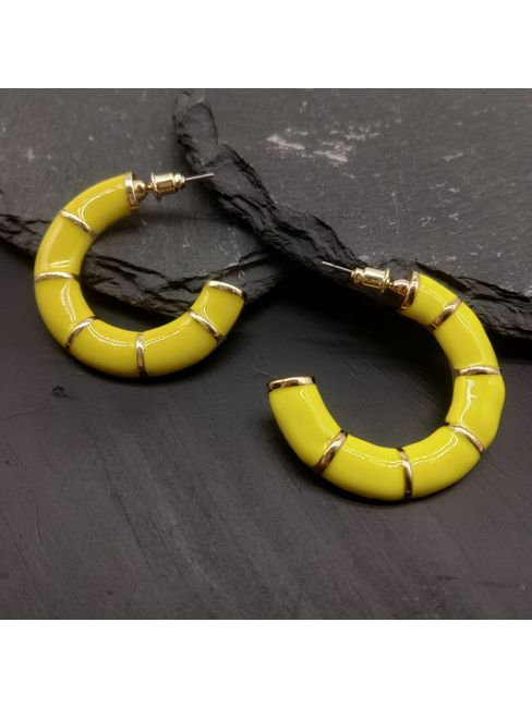 Yellow Crescent Shaped Half Hoop Earrings